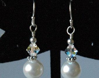 Swarovski Crystal Pearl Earrings, Bridesmaids Gift Set Jewelry Earrings, Bride Wedding Earrings