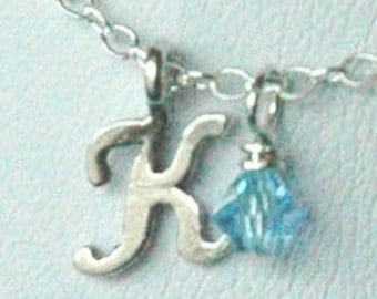 Petite Sterling Silver Initial and  Birthstone  Charm Necklace