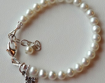 Sterling Silver  Baby Child Freshwater Pearl Cross Bracelet, Baptism, Christening, First Communion, Confirmation