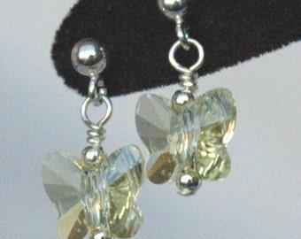 Light Yellow - Jonquil  Butterfly Earrings, Butterfly Earrings, Crystal Butterfly Earrings, Light Yellow Earrings