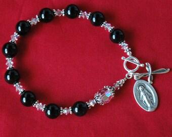 Black Onyx Rosary Bracelet, Confirmation Bracelet, First Communion Bracelet, Godmother Bracelet, Chaplet Rosary Bracelet, Chaplet Bracelet