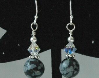 Snowflakes Obsidian and  Swarovski Crystal  Earrings