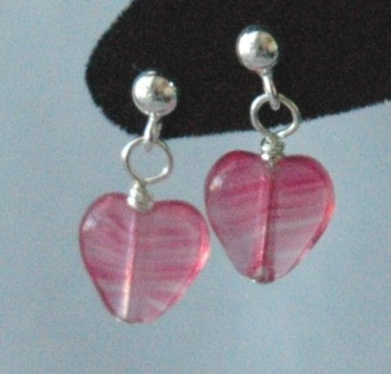 Rose Hearts Sterling Silver Earrings