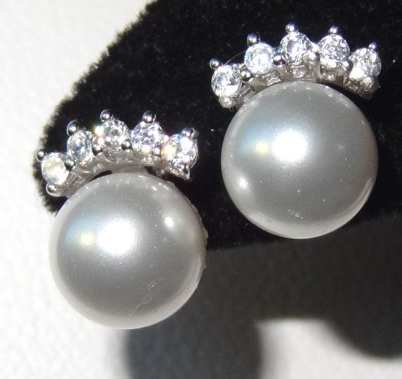 Silver Mini Crown Tiara Pearl  Stud Post Children  Earrings