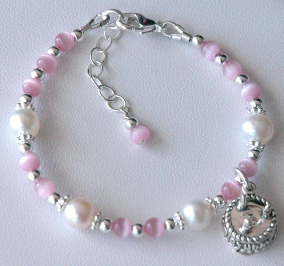 Happy Birthday Bracelet - Sterling Silver Freshwater Pearl and Cat Eye Children Bracelet, First Birthday Bracelet, Third Birthday Bracelet