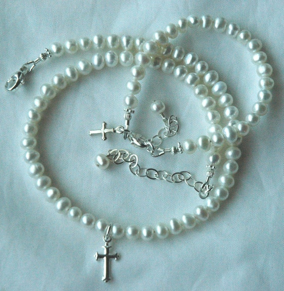 Sterling Silver First Communion Freshwater Pearl Cross Children Bracelet and Necklace- SET, Confirmation