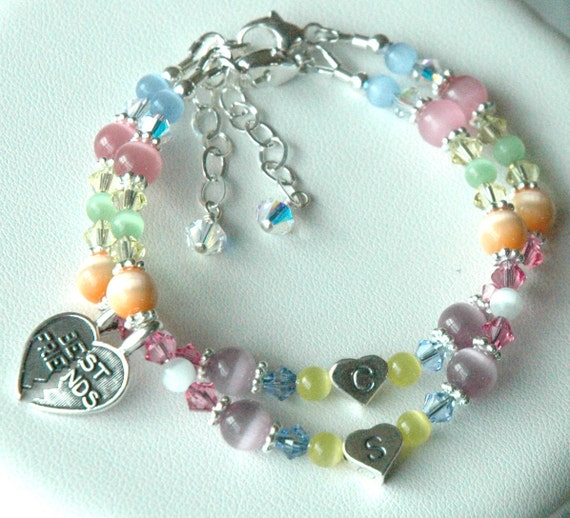 BFF,  Best Friend ---Sterling Silver Heart Initial Multi Colour Cat Eye and Swarovski Crystal Children Bracelet, Easter Bracelet --- SET TW