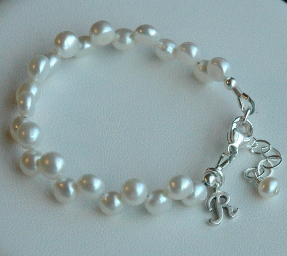 Baby Child Dancing Freshwater Pearl Bracelet With Sterling Silver Initial, Flower Girls, First communion Bracelet, Confirmation Bracelet