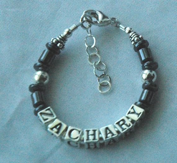 Boy - Sterling Silver / Hematite Custom Name Bracelet