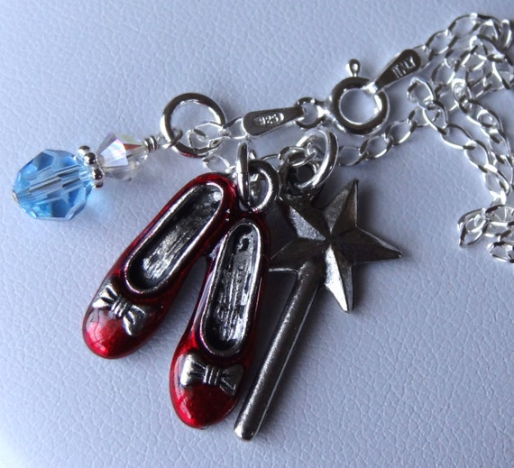 Wizard Of Oz -- Sterling Silver,  Ruby Slippers,  Wand and Dangle color Charms Children  Necklace