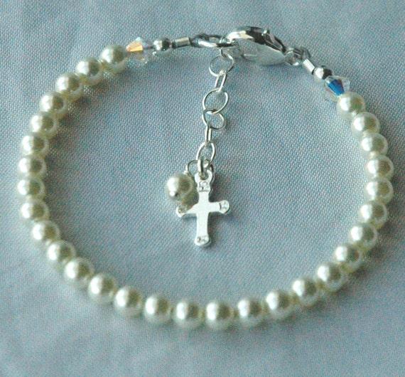 Sterling Silver Pearl   Baptism Cross Children  Bracelet, Baby Baptism Bracelet, Christening Bracelet, First Communion, Baby Pearl Bracelet