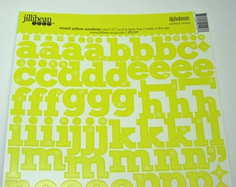 Mixed Yellow Sunshine Alphabeans from Jillibean Soup - Cardstock Alphabet Stickers