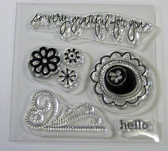 Grateful for You Clear Stamp Set - Basic Grey mini stamp set  CLEARANCE