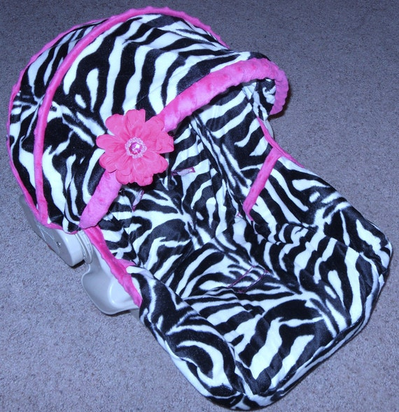 Black / White/ Zebra with Hot Pink infant Padded rplacement seat cover with belt and buckle covers
