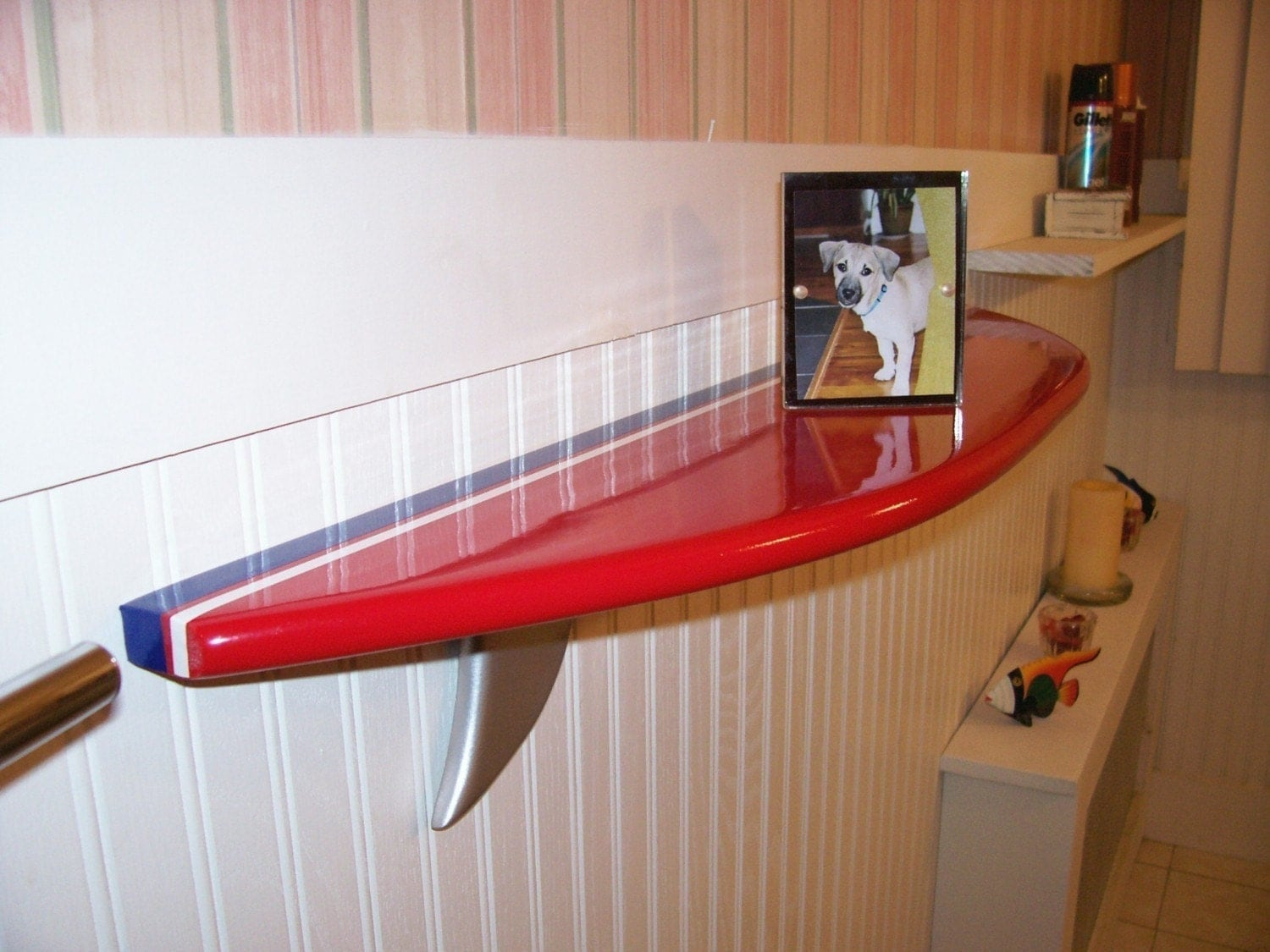 Surfboard Shelf Red With Blue And White Stripe 3 Foot Long