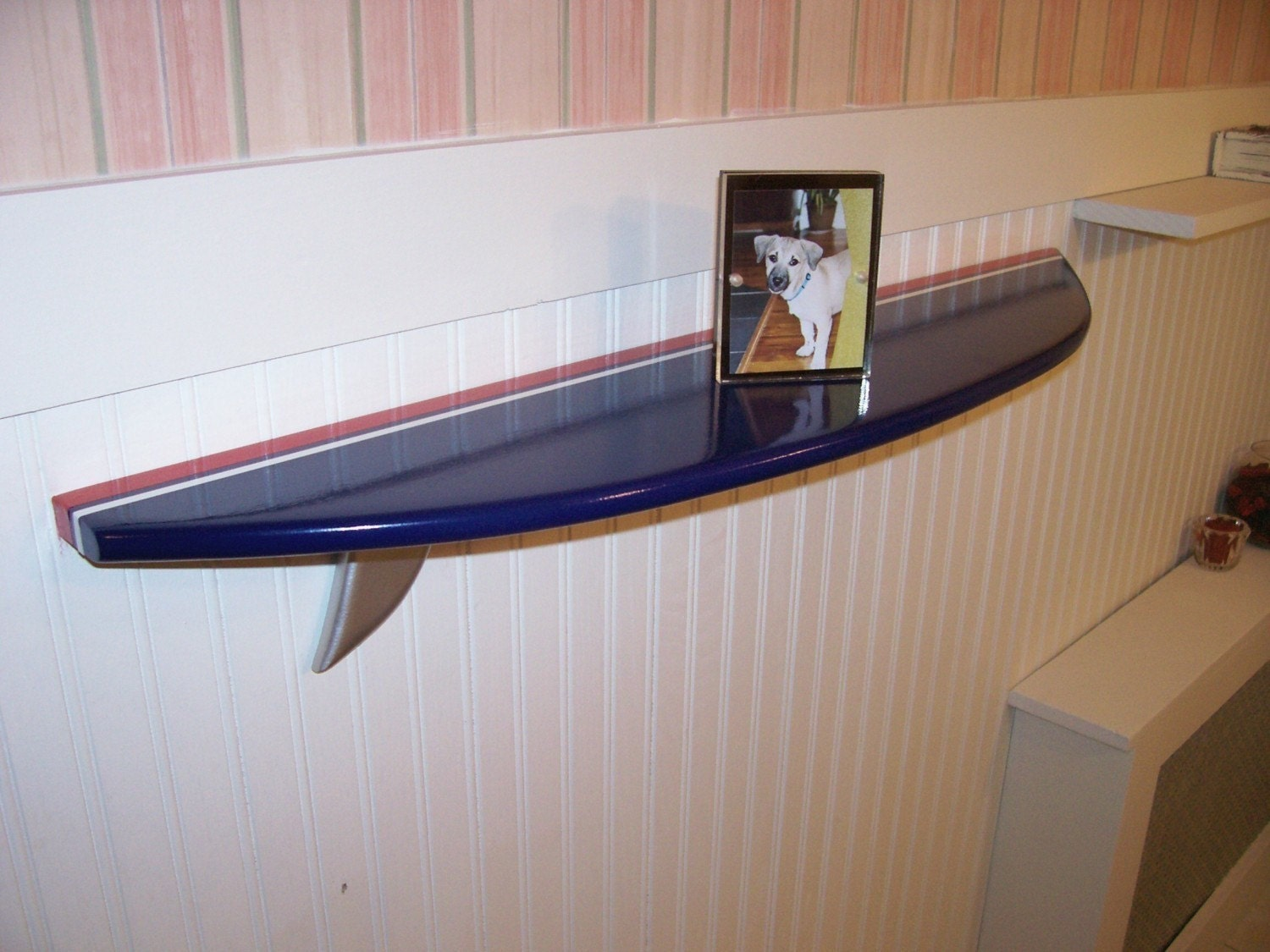 Surfboard Shelf Navy Blue With Red And White By Mikesshelves