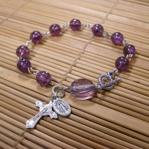 Amethyst Purple Chaplet Bracelet - Single Decade Rosary