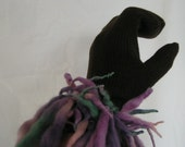 Mittens  Knit FRAGGLE Wool Fringe Brown Lavender Gray Blue Ladies Medium or Teen Warm and Cozy