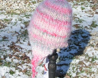 HAT BABY Softee Flap Cap Pastels Handspun and Hand Knit with soft  liner