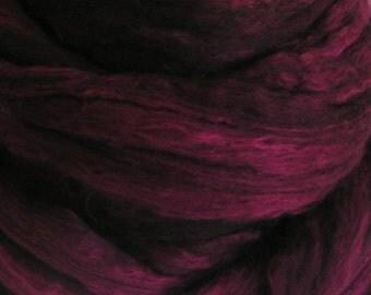 Merino Silk Top Fiber BEAUJOLAIS Velvet Wine Phatfiber November 50 50 Feature Spin Felt Craft Roving One fourth ounce