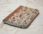 Pocket hardcover notebook with old English wallpaper design, hand bound