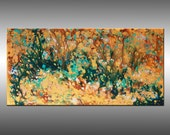 Original Contemporary Painting - Large Modern Canvas Art  - Free Shipping: Title, Liquid Energy 15 - 24x48 Inches