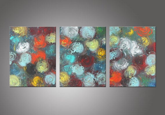 ORIGINAL Abstract Triptych Painting, Modern Wall art - Title, Positive Energy - 14x33 Inches