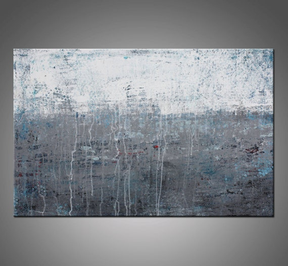 Original Abstract Modern Painting, Gray, White and Blue Canvas Wall Art - Title, Lithosphere 47 - 24x36 Inches