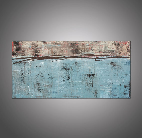 Original Abstract Modern Art Painting, Wall Art, Home Decor - Lithosphere 27 - 18x36 Inches by Hilary Winfield