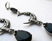 Jet black moon earrings