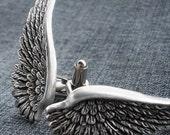 Wing Cufflinks Silver Wedding Cuff Links for Groom Gothic Jewelry Wedding Cufflinks Steampunk