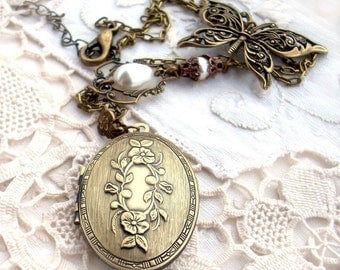 Vintage Locket Necklace // Brass Butterfly and White Pearl // Victorian Jewelry // Personalized womens gift custom name mom