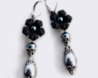 Black Pearl Earrings Black Flower Dangle Earrings Tahitian Pearls nickel free jewelry