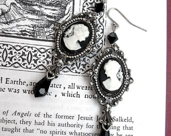 Gothic Earrings Black Cameo Earrings Gothic Jewelry Long Dangle Earrings Black Swarovski Earrings Victorian Jewelry gift for women