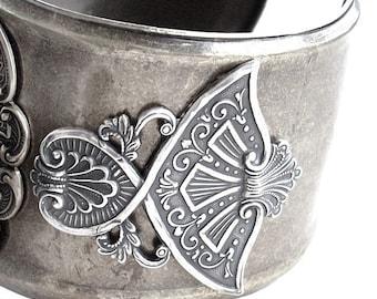 Steampunk cuff Watch silver bracelet women watches mens cuff watch black rhinestones gothic Jewelry wrist watch Wings watch wife