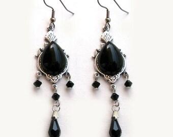 Long Black Onyx Earrings Black Gothic Earrings Gothic Jewellery Black Swarovski Dangle Earrings Onyx Jewelry Victorian Jewelry