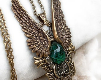 Steampunk Jewelry Large Pendant Brass gothic Necklace Fantasy Necklace Angel Wings Pendant // mens Pendant womens statement necklace