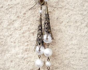 Filigree Earrings Bridal Earrings Long Pearl Earrings Brass Dangle Earrings Swarovski Pearls Victorian Jewelry aranwen