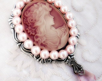 Victorian Brooch Pink Cameo Brooch Pin with Pearls //  Gothic Lolita Brooch Lolita Jewelry Pastel // Aranwen