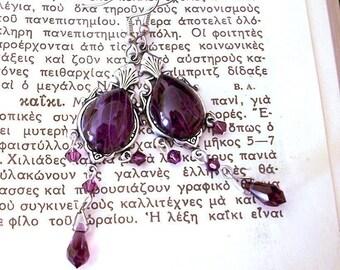 Purple Swarovski Earrings Long Dangle Earrings Amethyst Purple Earrings Dangle Long Earrings Victorian Jewelry Goth Jewelry