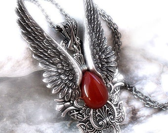 Large Goth Pendant Goth Jewelry Red Silver Angel Wings Pendant Mens and Womens gothic jewelry