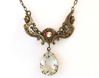 Swarovski Necklace Antique Brass Necklace Victorian Necklace Bridesmaid Necklace Angels Wings Swarovski Jewelry gift for women mom