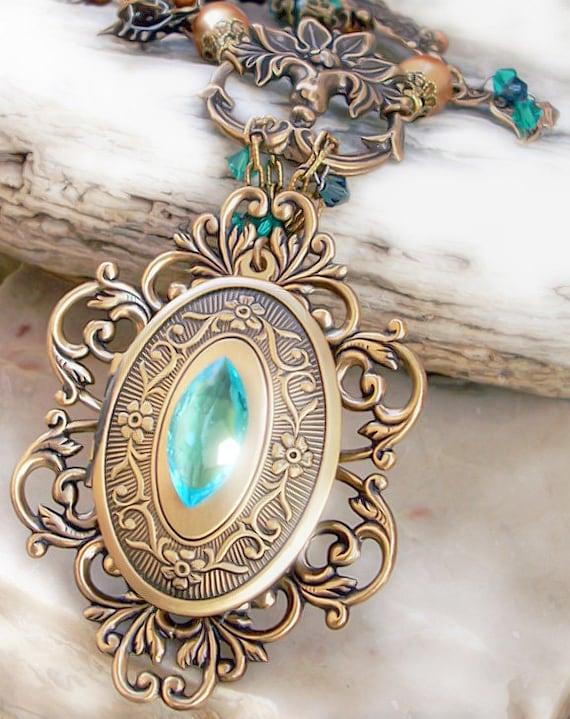 Vintage Brass Locket Necklace Green Swarovski Personalized Necklace Statement Vintage Style monogram custom name Formal Jewelry Party