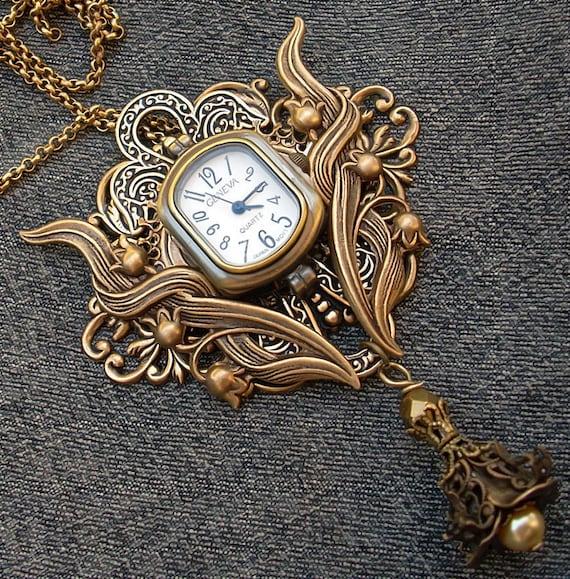 Steampunk watch necklace or brooch