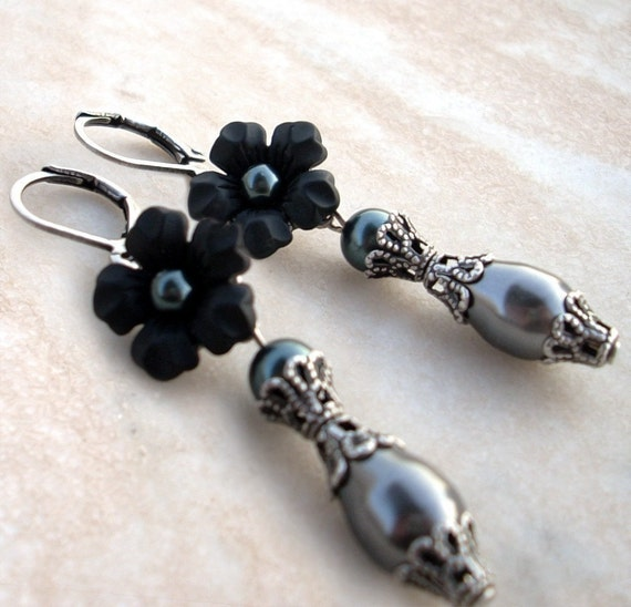 Black Pearl Earrings Black Flower Earrings Black Dangle Earrings Tahitian Pearls Black Earrings gothic jewelry mom girlfriend sister