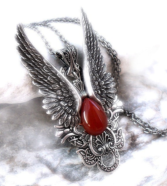 Large Silver Angel Wings Pendant // Dark Angel Mens and Womens gothic jewelry