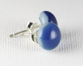 fused glass earrings. sterling silver posts and studs. turquoise glass earrings.