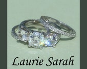 Classic 3 Stone Wedding Set with White Sapphires and 2 carat Diamond center stone - LS1024