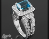 Laurie Sarah Blue Topaz Ring with Diamond Halo Milgrain and Filigree Detail - LS308
