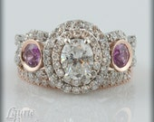 Oval Diamond Engagement Ring with Pink Sapphire Side Stones in pink gold - LS1786